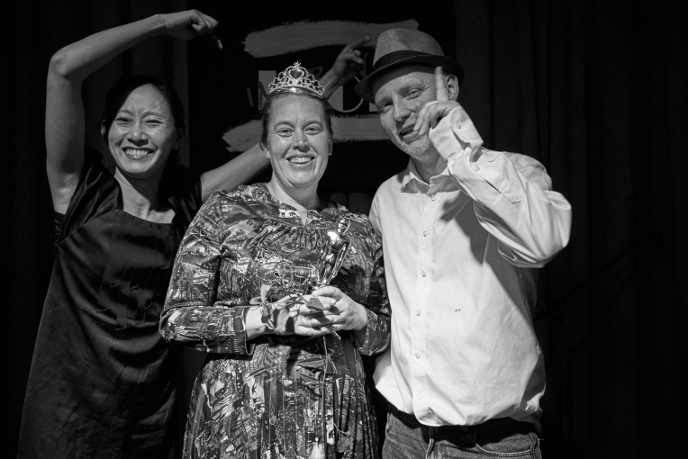 Improv Idol creators Carmen Chan and Clinton Green with inaugural winner, Gemma Horbury (middle) (photo: Rick Evertsz)